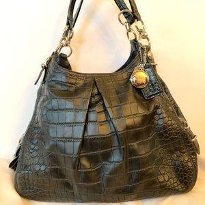 Coach Crocodile Embossed Leather Shoulder Bag